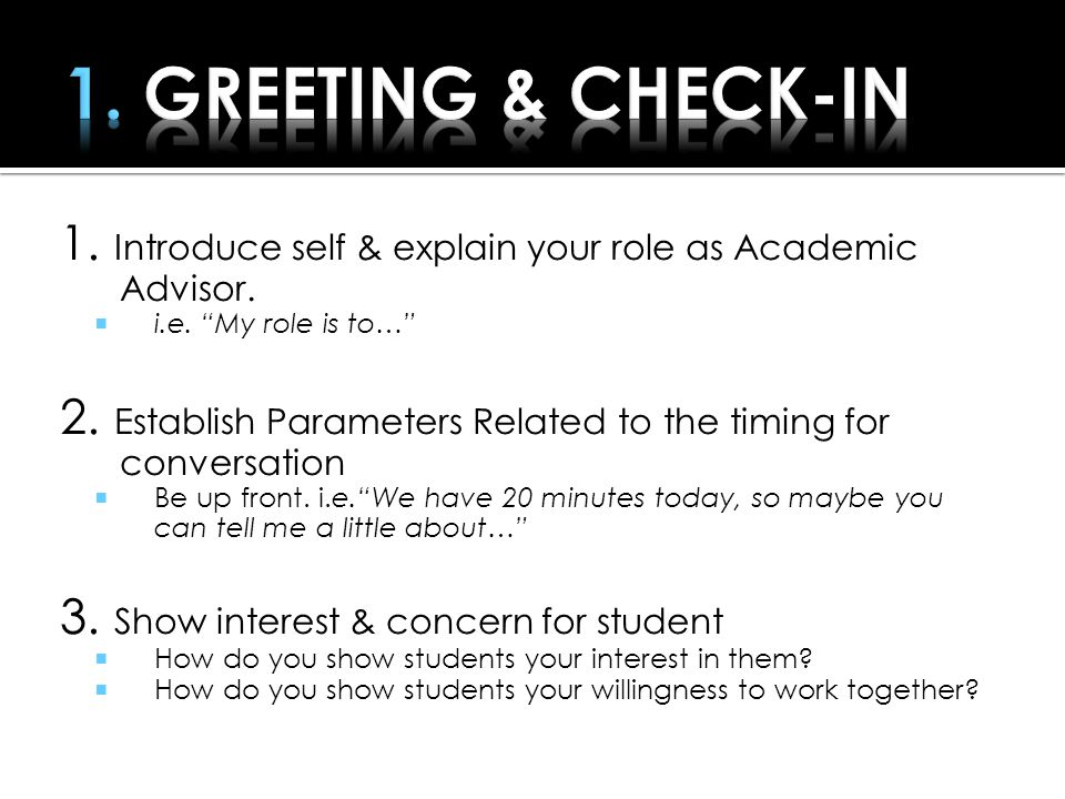 Greeting &Check-in Uncover Concern(s ) Check for mutual understanding Identify Possible Solutions Follow-Up