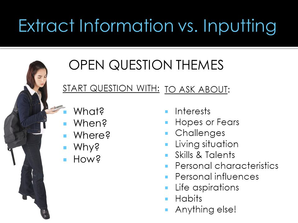  Extracting Information (vs. Inputting)  Attending (Paying attention).