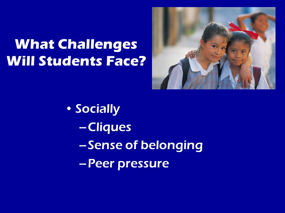 What Challenges Will Students Face Socially –Cliques –Sense of belonging –Peer pressure