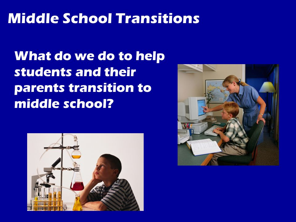 Middle School Transitions What do we do to help students and their parents transition to middle school
