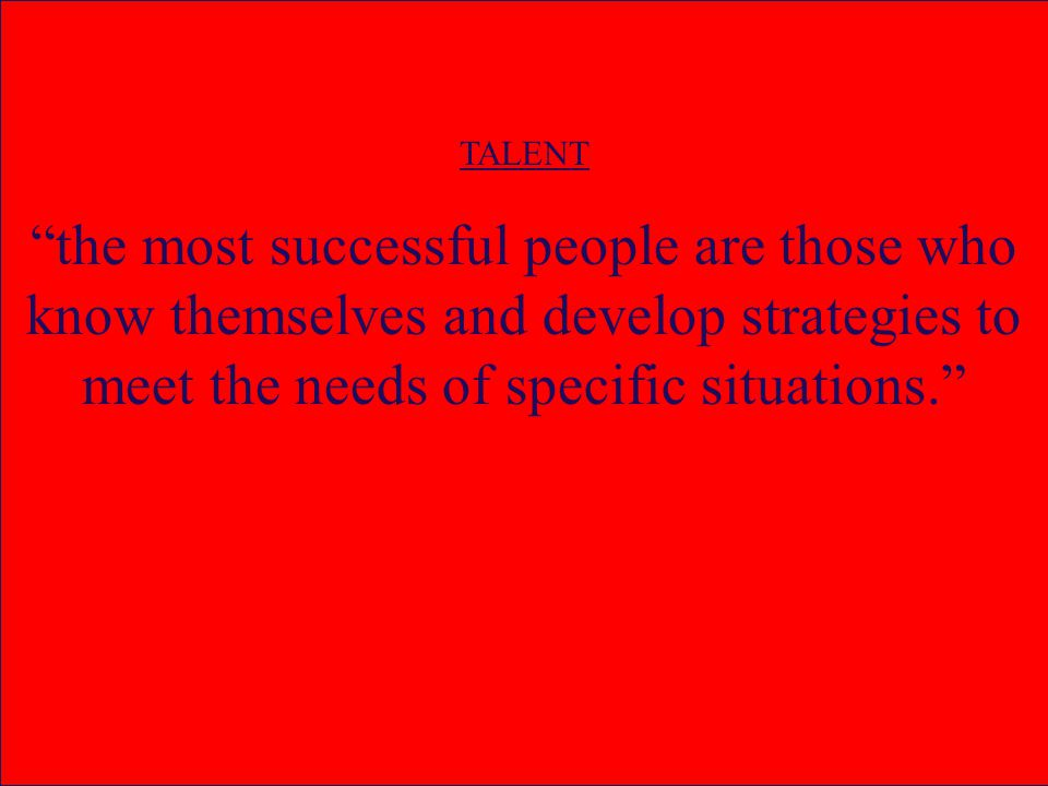 TALENT the most successful people are those who know themselves and develop strategies to meet the needs of specific situations.