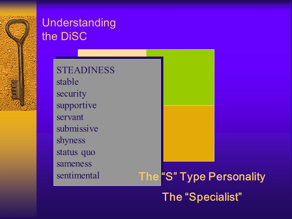 Understanding the DiSC Low STEADINESS stable security supportive servant submissive shyness status quo sameness sentimental STEADINESS stable security supportive servant submissive shyness status quo sameness sentimental The S Type Personality The Specialist