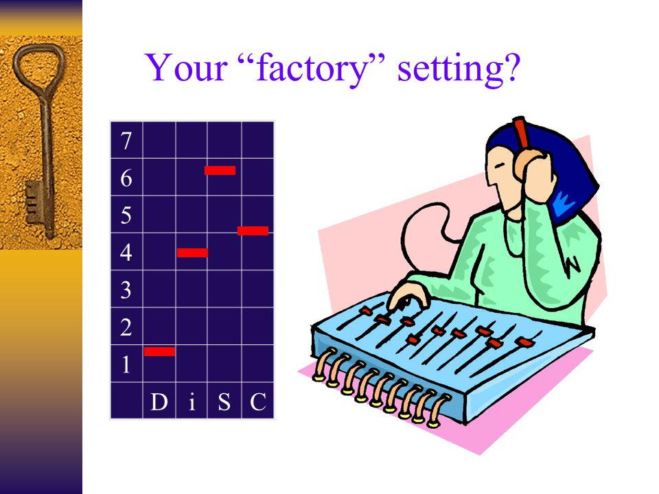 Your factory setting 7 6 5 4 3 2 1 DiSC