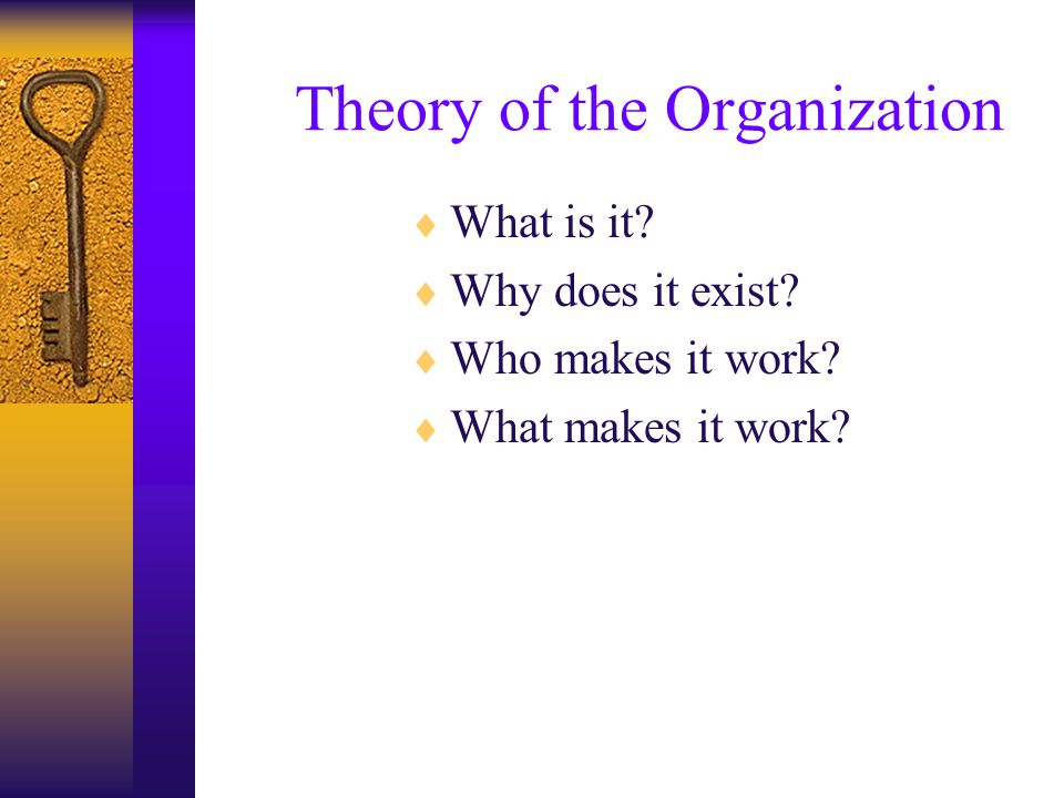 Theory of the Organization  What is it? –Group of people organized to produce a planned result