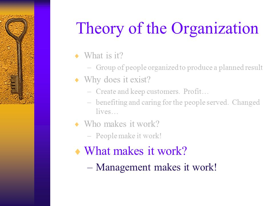 Theory of the Organization  What is it.