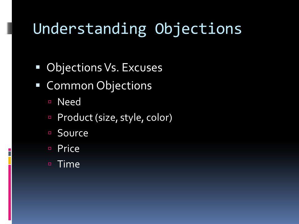 Understanding Objections  Objections Vs.
