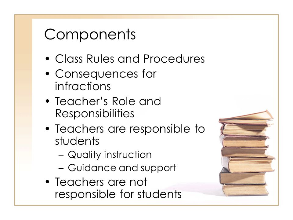 Components Class Rules and Procedures Consequences for infractions Teacher's Role and Responsibilities Teachers are responsible to students –Quality instruction –Guidance and support Teachers are not responsible for students