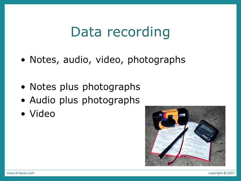Data recording Notes, audio, video, photographs Notes plus photographs Audio plus photographs Video