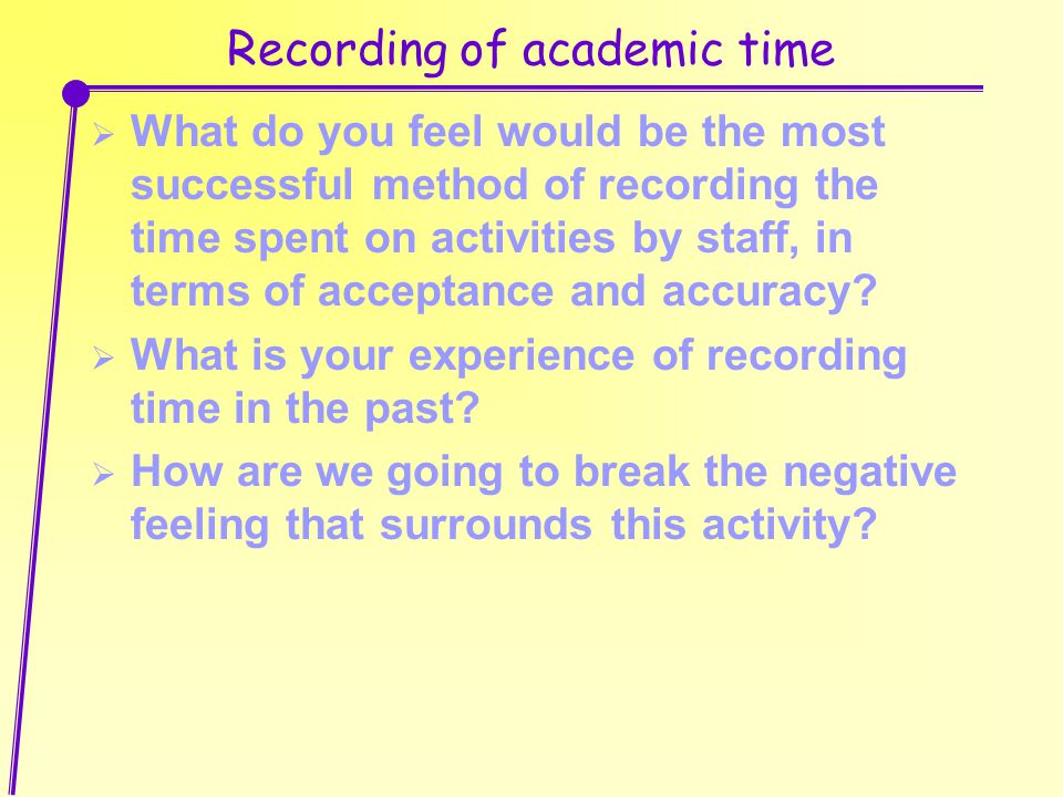 Recording of academic time  What do you feel would be the most successful method of recording the time spent on activities by staff, in terms of acceptance and accuracy.