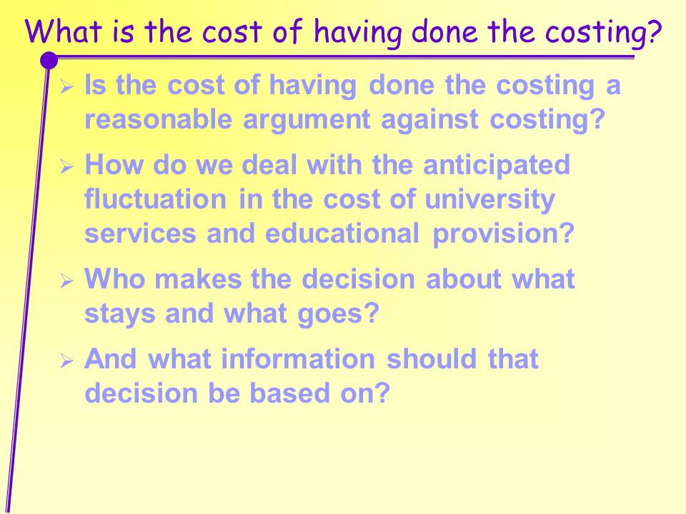 What is the cost of having done the costing?  Is the cost of having done the costing a reasonable argument against costing?  How do we deal with the