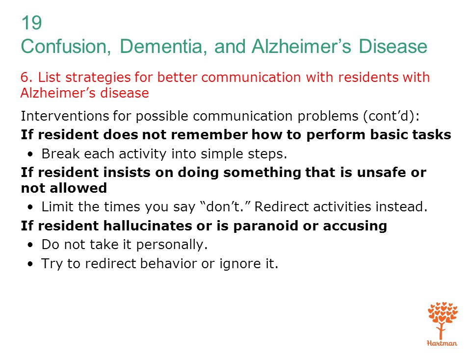 19 Confusion, Dementia, and Alzheimer's Disease 6. List strategies for better communication with residents with Alzheimer's disease Interventions for