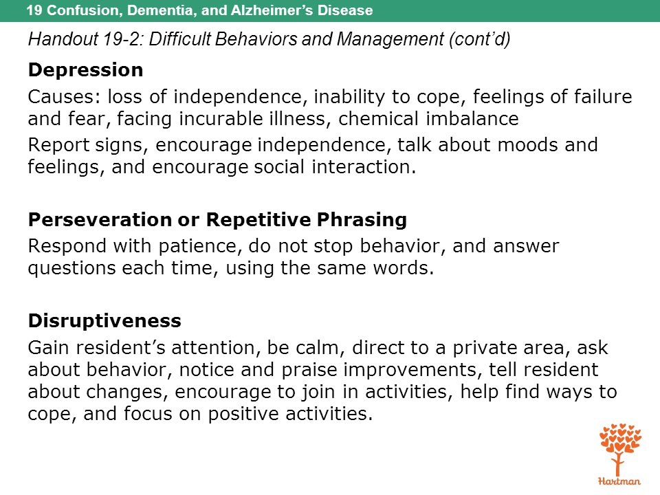 19 Confusion, Dementia, and Alzheimer's Disease Handout 19-2: Difficult Behaviors and Management (cont'd) Depression Causes: loss of independence, ina