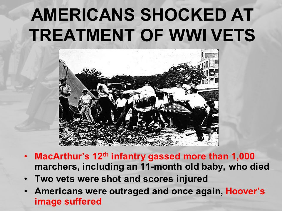 AMERICANS SHOCKED AT TREATMENT OF WWI VETS MacArthur's 12 th infantry gassed more than 1,000 marchers, including an 11-month old baby, who died Two vets were shot and scores injured Americans were outraged and once again, Hoover's image suffered