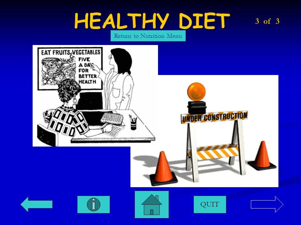 HEALTHY DIET QUIT Return to Nutrition Menu 3 of 3