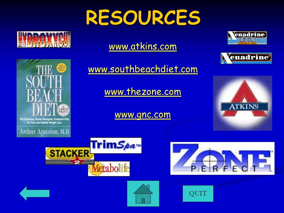 RESOURCES QUIT www.atkins.com www.southbeachdiet.com www.thezone.com www.gnc.com