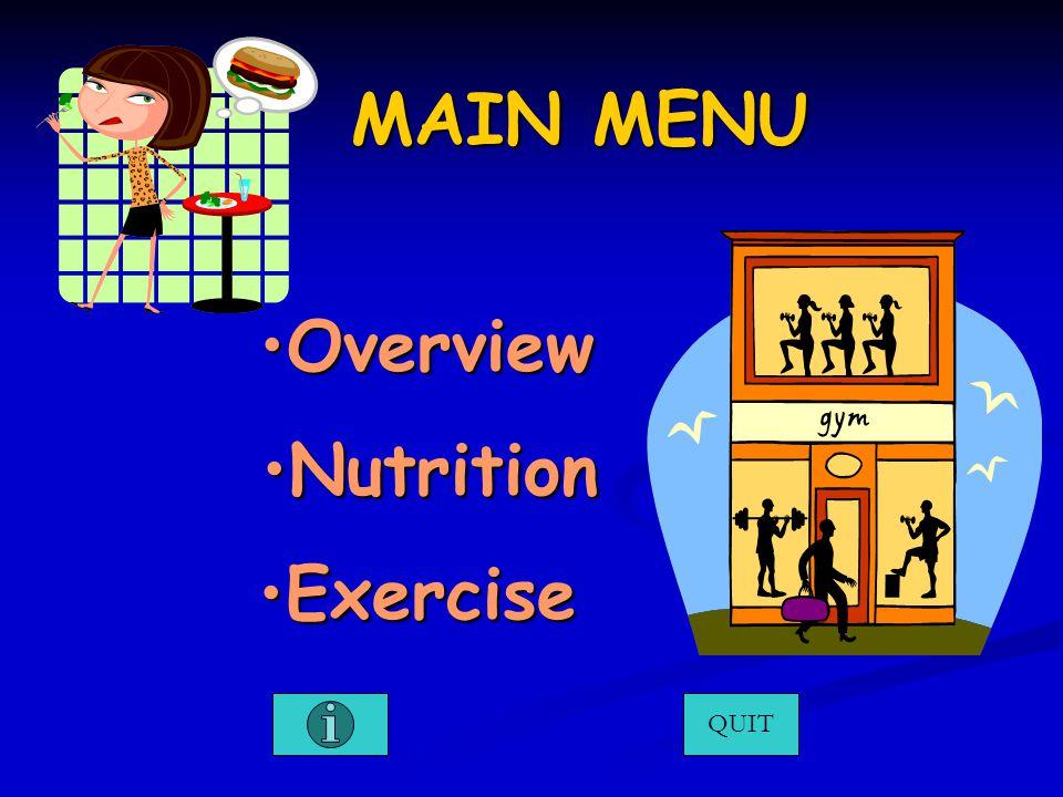 MAIN MENU OverviewOverviewOverview QUIT NutritionNutritionNutrition ExerciseExerciseExercise