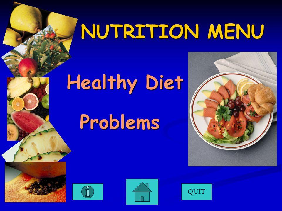 NUTRITION MENU QUIT Healthy Diet Healthy Diet Problems