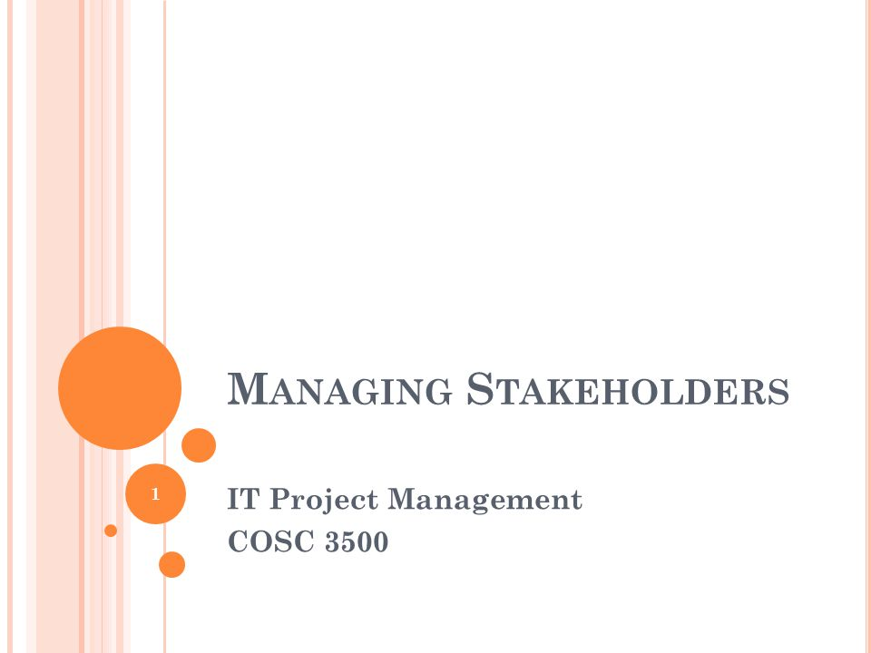 M ANAGING S TAKEHOLDERS IT Project Management COSC 3500 1