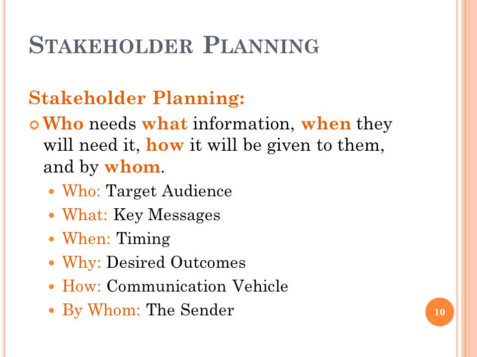 S TAKEHOLDER P LANNING 10 Stakeholder Planning: Who needs what information, when they will need it, how it will be given to them, and by whom. Who: Ta