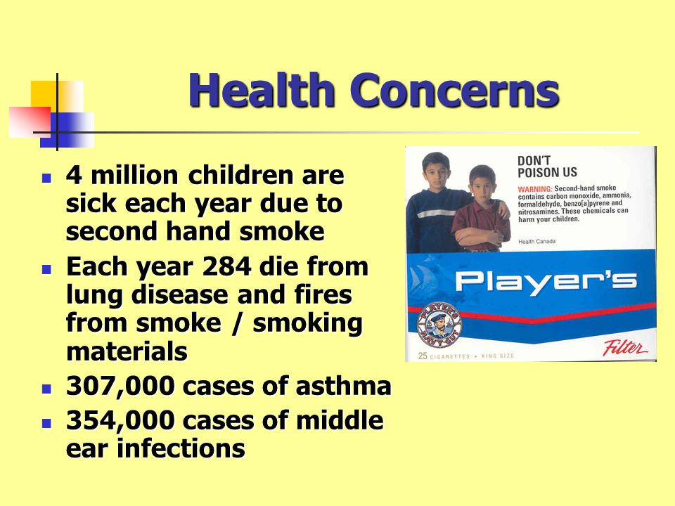 Health Concerns 4 million children are sick each year due to second hand smoke 4 million children are sick each year due to second hand smoke Each year 284 die from lung disease and fires from smoke / smoking materials Each year 284 die from lung disease and fires from smoke / smoking materials 307,000 cases of asthma 307,000 cases of asthma 354,000 cases of middle ear infections 354,000 cases of middle ear infections