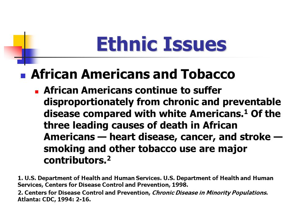 Ethnic Issues African Americans and Tobacco African Americans continue to suffer disproportionately from chronic and preventable disease compared with white Americans.
