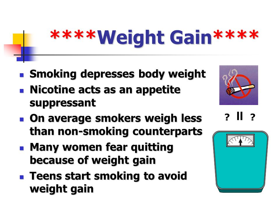 ****Weight Gain**** Smoking depresses body weight Smoking depresses body weight Nicotine acts as an appetite suppressant Nicotine acts as an appetite suppressant On average smokers weigh less than non-smoking counterparts On average smokers weigh less than non-smoking counterparts Many women fear quitting because of weight gain Many women fear quitting because of weight gain Teens start smoking to avoid weight gain Teens start smoking to avoid weight gain = ??