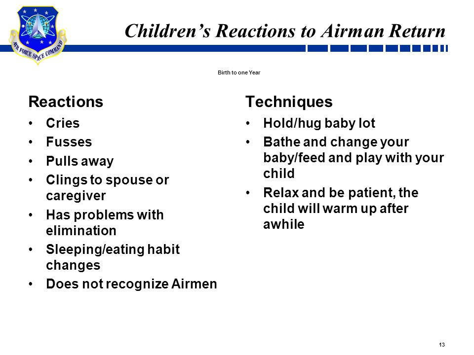 13 Children's Reactions to Airman Return Reactions Cries Fusses Pulls away Clings to spouse or caregiver Has problems with elimination Sleeping/eating habit changes Does not recognize Airmen Techniques Hold/hug baby lot Bathe and change your baby/feed and play with your child Relax and be patient, the child will warm up after awhile Birth to one Year