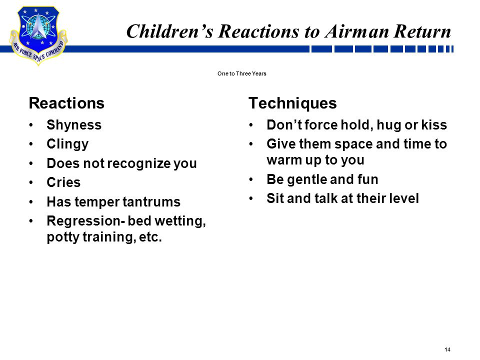 14 Children's Reactions to Airman Return Reactions Shyness Clingy Does not recognize you Cries Has temper tantrums Regression- bed wetting, potty training, etc.