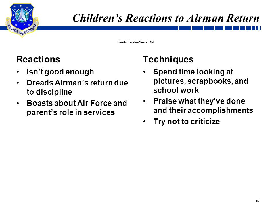 16 Children's Reactions to Airman Return Reactions Isn't good enough Dreads Airman's return due to discipline Boasts about Air Force and parent's role in services Techniques Spend time looking at pictures, scrapbooks, and school work Praise what they've done and their accomplishments Try not to criticize Five to Twelve Years Old