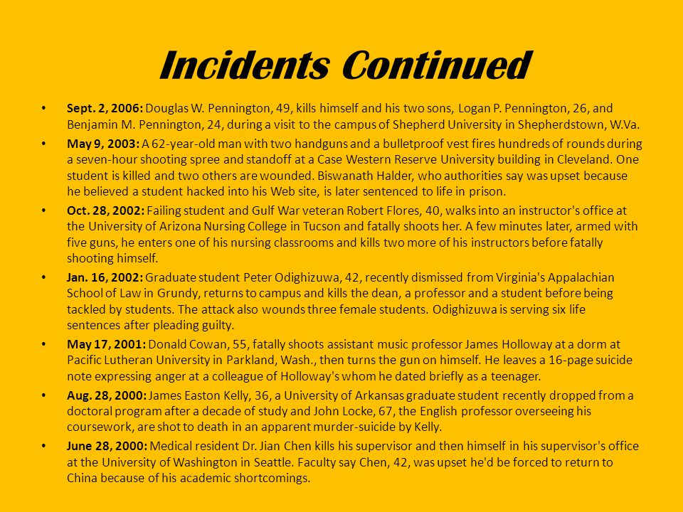 Incidents Continued Sept. 2, 2006: Douglas W.