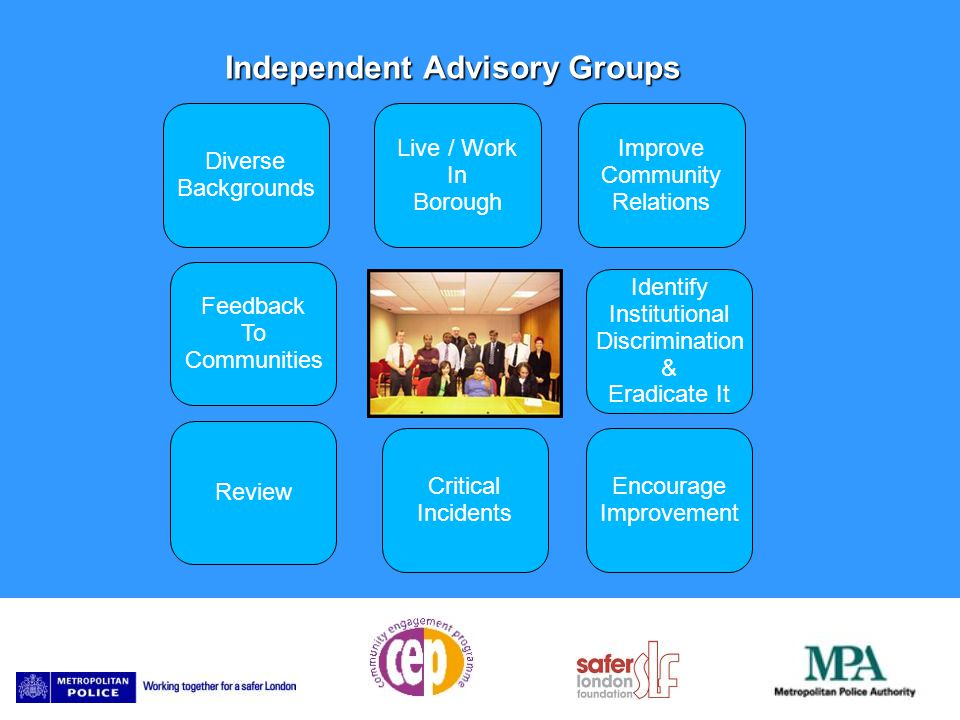 Diverse Backgrounds Independent Advisory Groups Live / Work In Borough Improve Community Relations Critical Incidents Identify Institutional Discrimination & Eradicate It Encourage Improvement Review Feedback To Communities