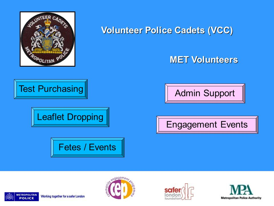 Volunteer Police Cadets (VCC) Test Purchasing Leaflet Dropping Fetes / Events Admin Support Engagement Events MET Volunteers