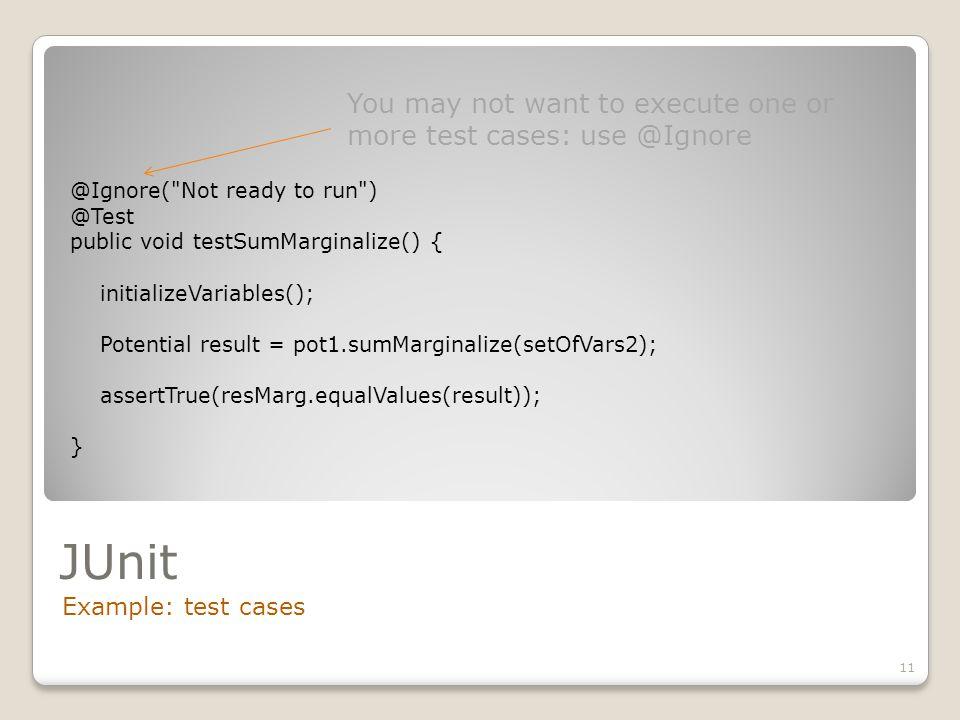JUnit Example: test cases 11 @Ignore(