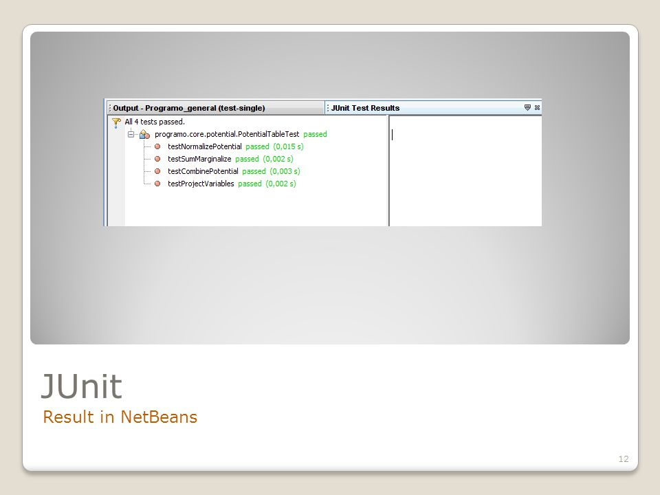 JUnit Result in NetBeans 12
