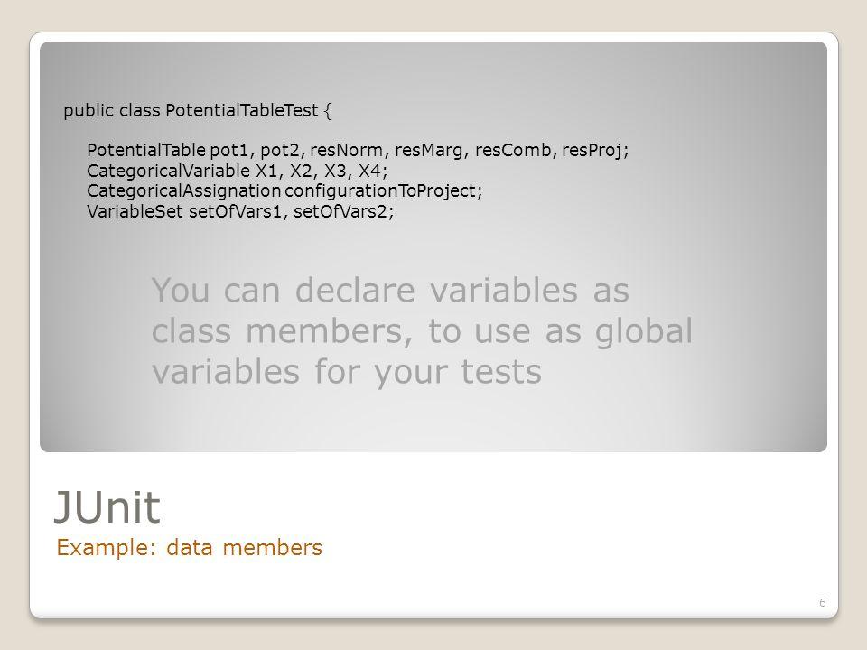JUnit Example: data members 6 public class PotentialTableTest { PotentialTable pot1, pot2, resNorm, resMarg, resComb, resProj; CategoricalVariable X1,