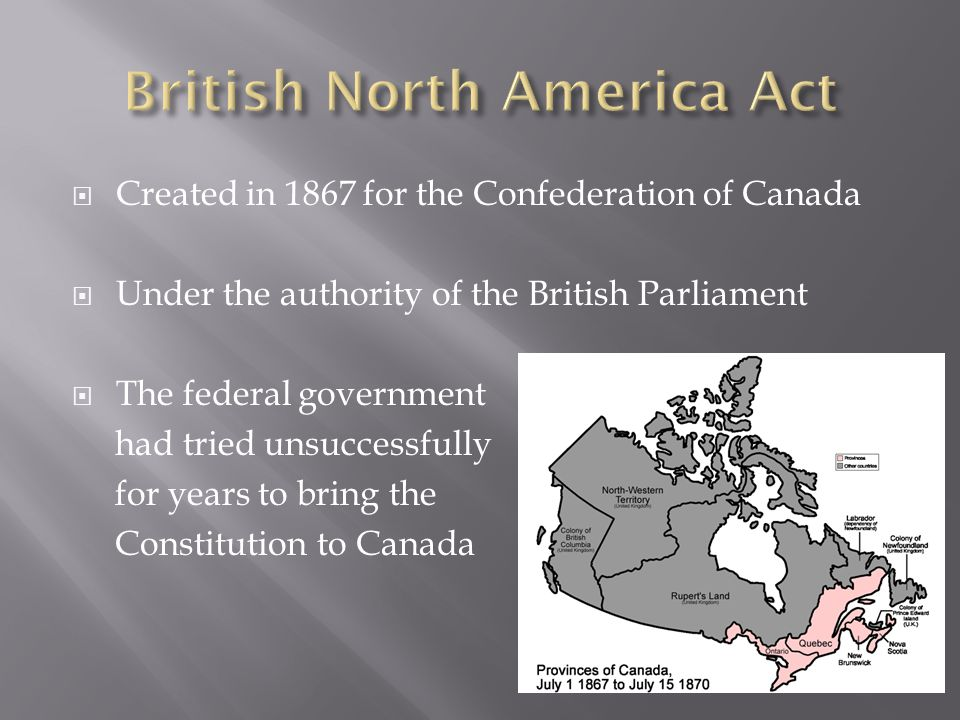  Created in 1867 for the Confederation of Canada  Under the authority of the British Parliament  The federal government had tried unsuccessfully fo