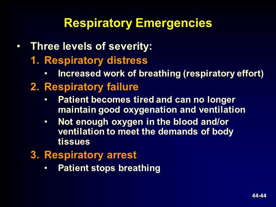 Respiratory Emergencies Three levels of severity: 1.Respiratory distress Increased work of breathing (respiratory effort) 2.Respiratory failure Patien