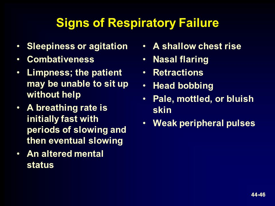 Signs of Respiratory Failure Sleepiness or agitation Combativeness Limpness; the patient may be unable to sit up without help A breathing rate is init