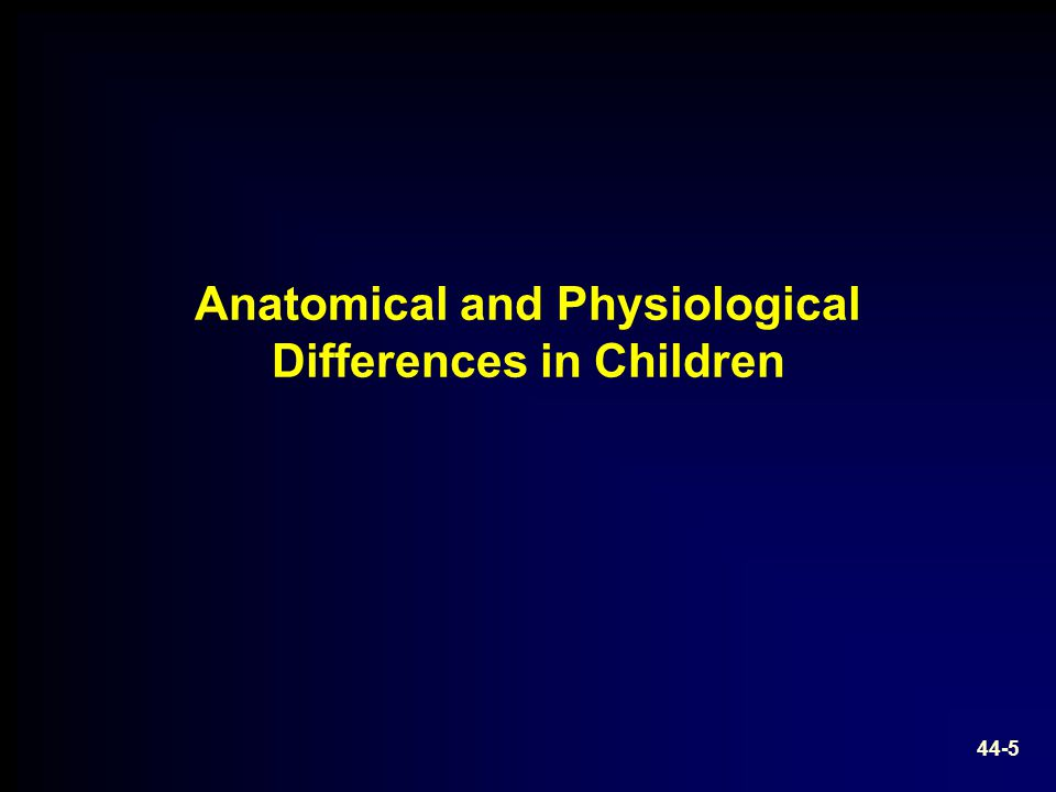 Anatomical and Physiological Differences in Children 44-5