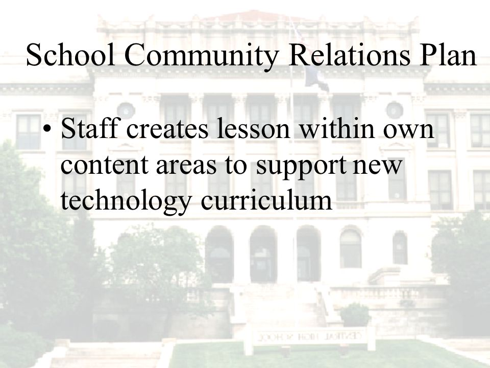 Staff creates lesson within own content areas to support new technology curriculum School Community Relations Plan