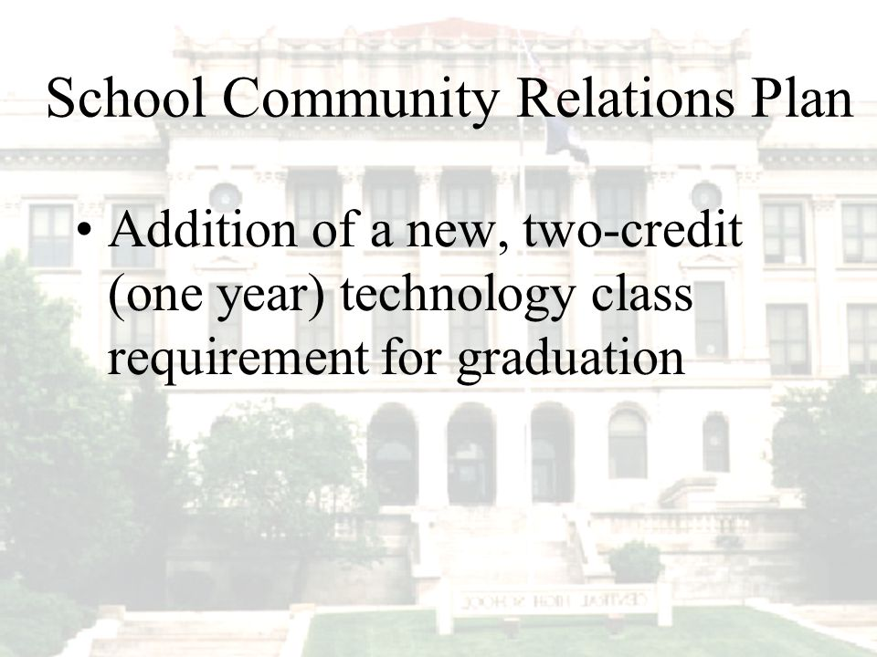 Addition of a new, two-credit (one year) technology class requirement for graduation School Community Relations Plan
