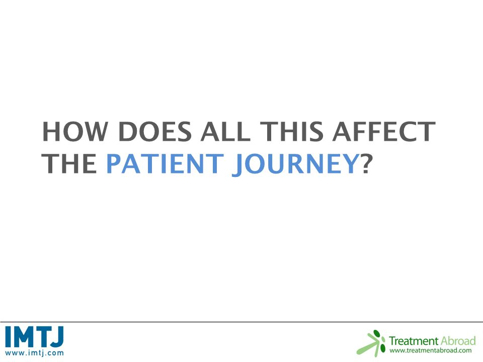 HOW DOES ALL THIS AFFECT THE PATIENT JOURNEY