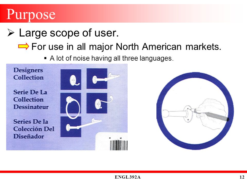 ENGL 392A 12 Purpose  Large scope of user. For use in all major North American markets.