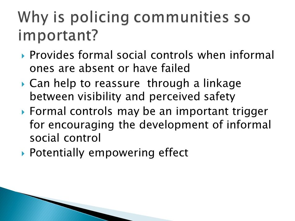  Provides formal social controls when informal ones are absent or have failed  Can help to reassure through a linkage between visibility and perceived safety  Formal controls may be an important trigger for encouraging the development of informal social control  Potentially empowering effect