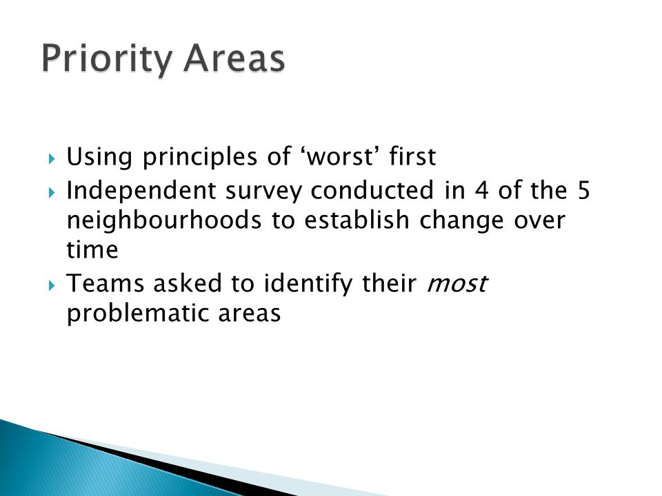  Using principles of 'worst' first  Independent survey conducted in 4 of the 5 neighbourhoods to establish change over time  Teams asked to identify their most problematic areas