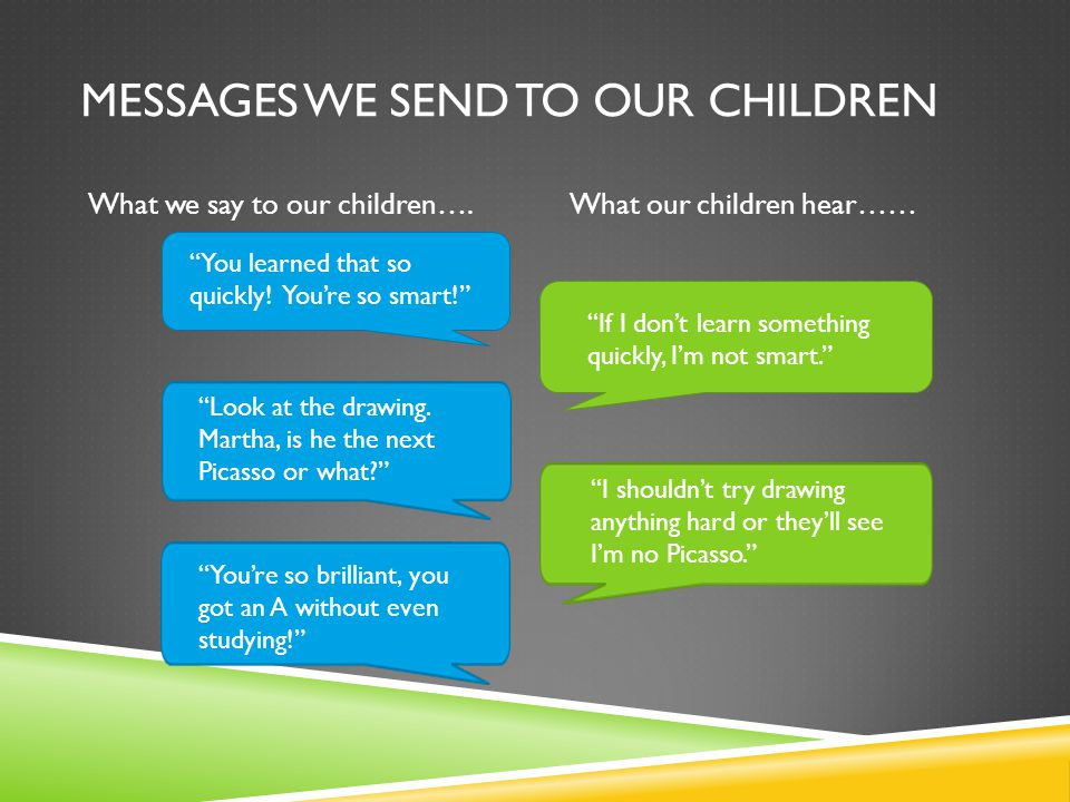 MESSAGES WE SEND TO OUR CHILDREN What we say to our children….What our children hear…… You learned that so quickly.