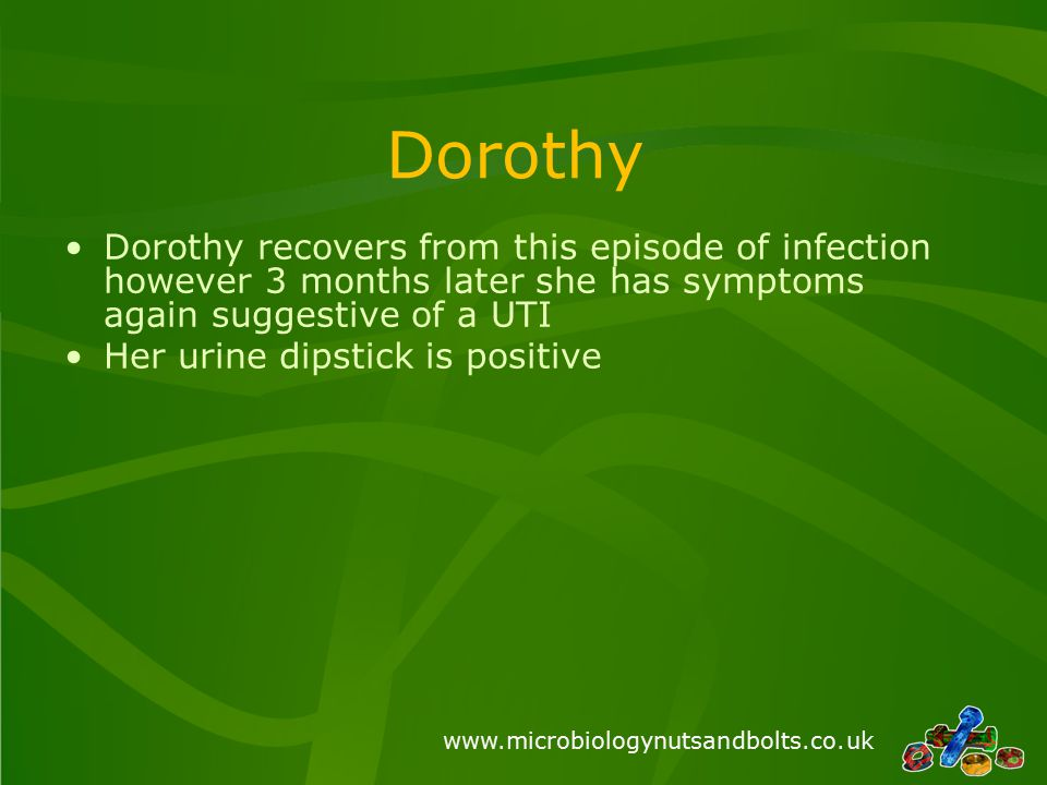 www.microbiologynutsandbolts.co.uk Dorothy Dorothy recovers from this episode of infection however 3 months later she has symptoms again suggestive of a UTI Her urine dipstick is positive
