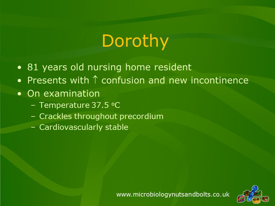 www.microbiologynutsandbolts.co.uk Dorothy 81 years old nursing home resident Presents with  confusion and new incontinence On examination –Temperature 37.5 o C –Crackles throughout precordium –Cardiovascularly stable