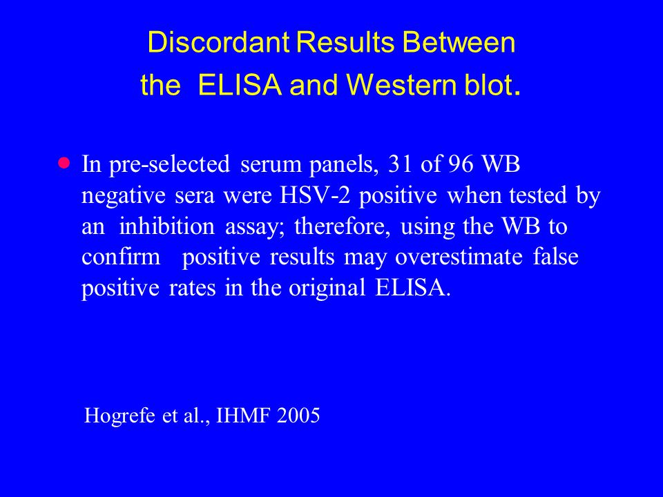 Discordant Results Between the ELISA and Western blot.
