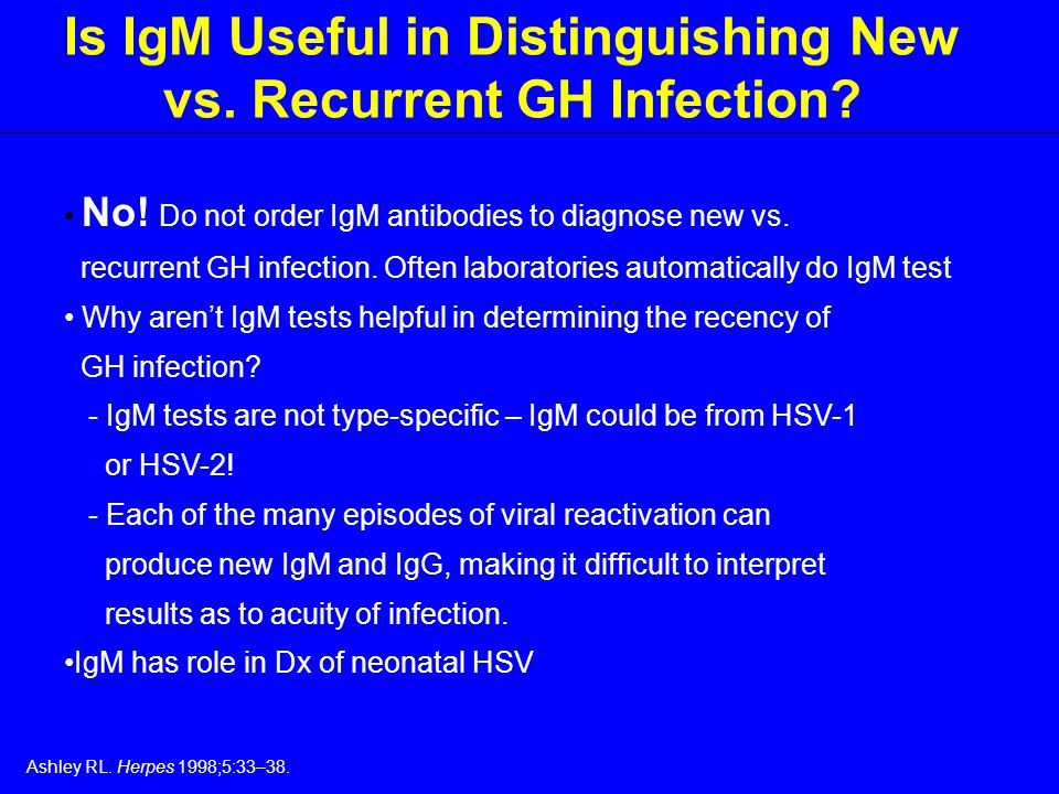 Is IgM Useful in Distinguishing New vs. Recurrent GH Infection.